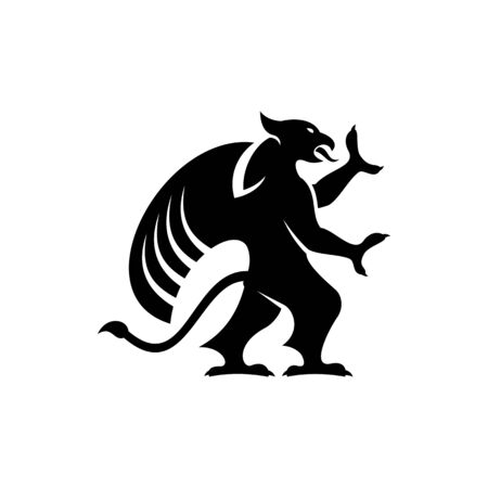 Legendary griffon isolated winged lion. Vector griffin silhouette, mythical creature, wings of eagle Ilustração