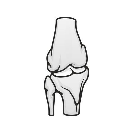 Joint of bones in knee or elbow, vector isolated icon. Human anatomy, skeleton structure, orthopedic Ilustração