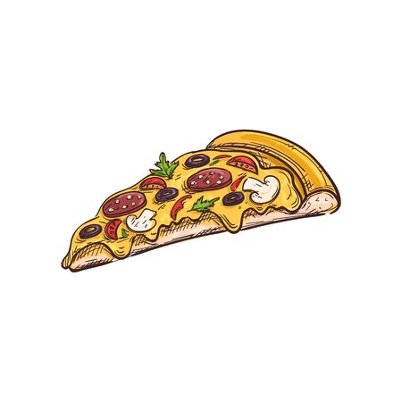 Pizza with vegetables, mushrooms and salami isolated slice. Vector fastfood sketch, pepperoni with olives and tomatoes