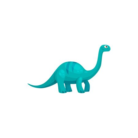 Brontosaurus isolated cartoon tyrannosaurus. Vector blue childish dino, dinosaur animal