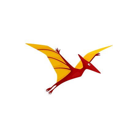 Pteranodon isolated cartoon pterodactyl. Vector flying dinosaur, prehistoric pterosaur dino bird