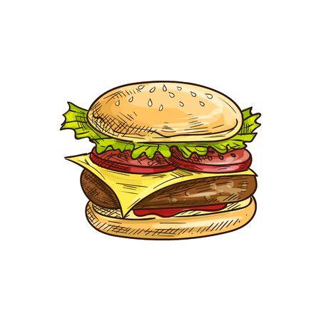 Big royal cheeseburger isolated fastfood snack. Vector hamburger burger with chicken or beef chop