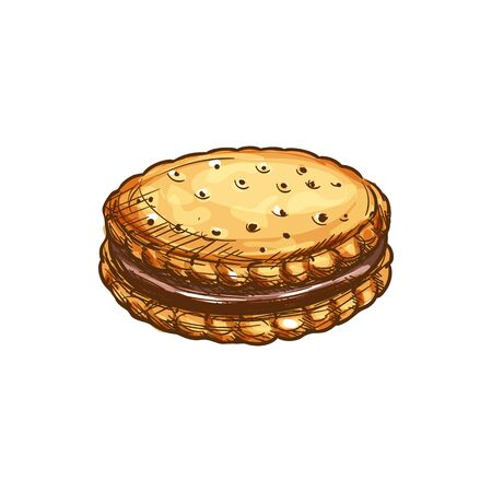 Crispy cookie with chocolate glaze vector sketch icon. Pastry or confectionery product isolated sketch  イラスト・ベクター素材