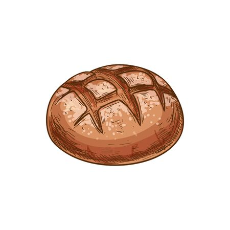 Bread loaf vector icon, bakery product sketch. Round brown bread bun isolated