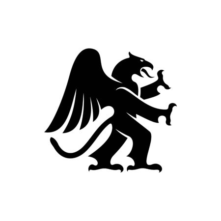 Gryphon mythical creature isolated beast. Vector creature with eagle legs and lion head
