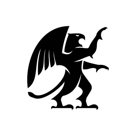Griffin or griffon winged ancient beast isolated silhouette. Vector monster, falcon and lion