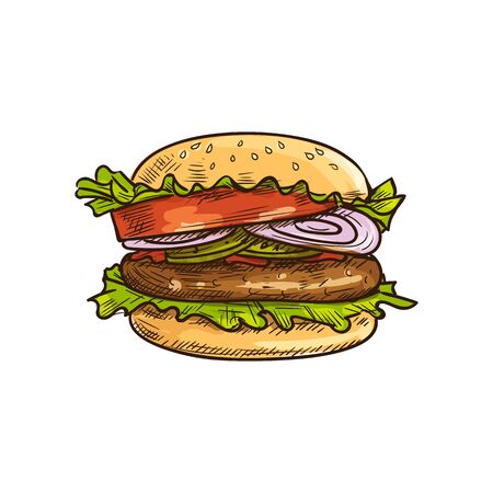 Hamburger burger with beef chop green lettuce leaves, tomatoes and onions isolated vector sketch