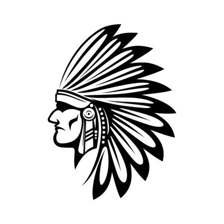 Indio nativo americano en cabeza aislada tocado de plumas. Jefe tribal de vector con sombrero de plumas Ilustración de vector