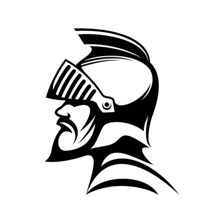 Medieval knight in protective helmet isolated side view profile. Vector male warrior in helmet