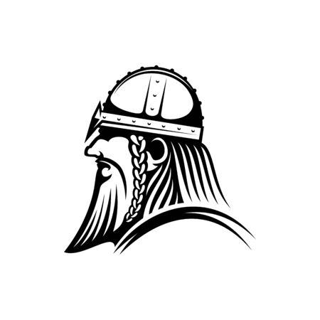 Profil de tête de guerrier isolé viking barbu. Conquête médiévale de vecteur, mascotte d'agresseur barbare