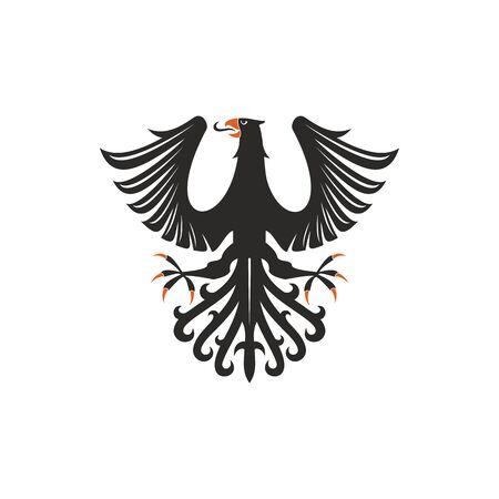 Oiseau isolé d'aigle héraldique avec des ailes ouvertes. Faucon noir de vecteur ou faucon avec la queue de plume écartée Vecteurs