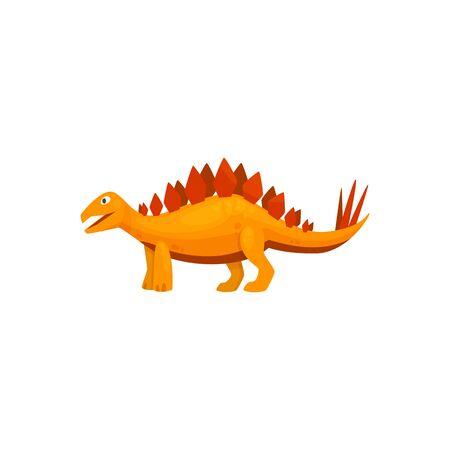 Stegosaurus isolated cartoon triceraptor graze. Vector orange spinosaurus prehistoric predator animal