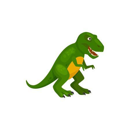 Tyrannosaurus de dibujos animados aislado de dinosaurio verde T-rex. Vector terópodo dino animal, parasaurolophus