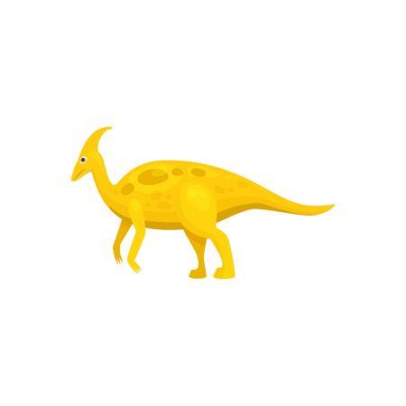 Parasaurolophus ornithopod dinosaur isolated yellow prehistoric animal. Vector cartoon dino, walkeri