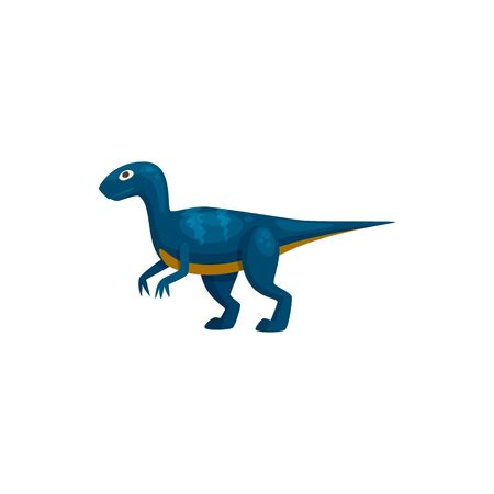 Cartoon tyrannosaurus isolated funny prehistoric animal. Vector blue t-rex dino, extinct character
