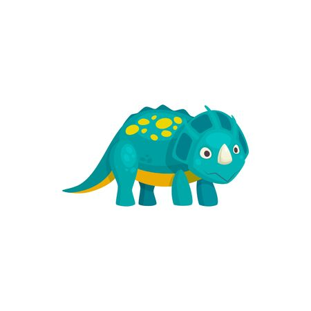 Brontosaurus cartoon spotted dinosaur with horn isolated. Vector prehistoric animal, brachiosaurus dino