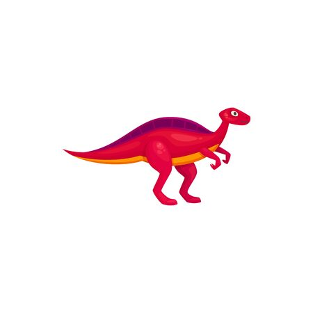 Pink dinosaur t-rex isolated raptor. Vector prehistoric animal, cartoon dino mascot
