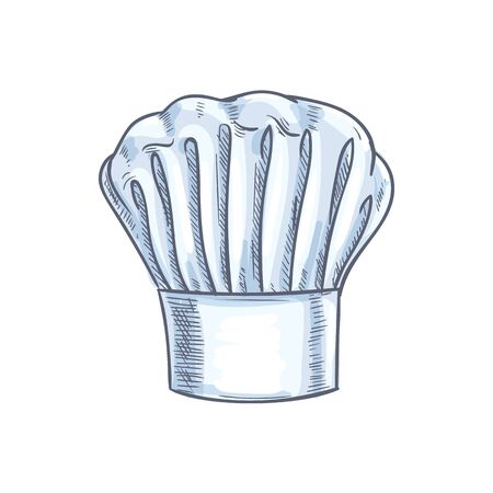 White chef cook hat isolated hand drawn sketch. Vector baker or cooker cap, kitchener headdress  イラスト・ベクター素材