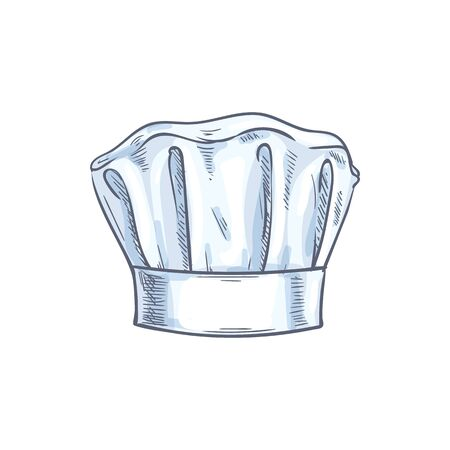 White chef cook hat isolated hand drawn sketch. Vector baker or cooker cap, kitchener headdress Illustration