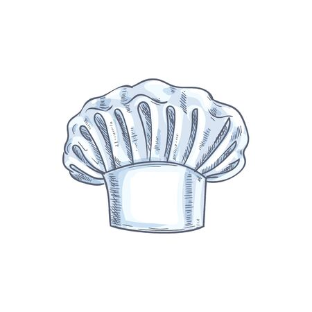 White chef cook hat isolated hand drawn sketch. Vector baker or cooker cap, kitchener headdress 向量圖像
