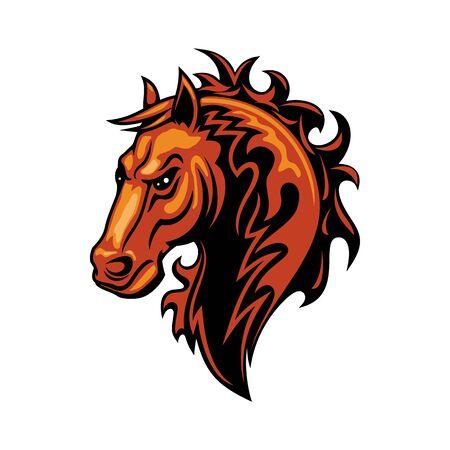 Stallion mustang isolated horse head. Vector equestrian sport mascot, racehorse animal Illustration