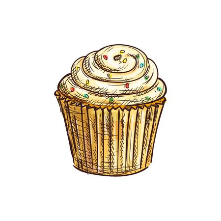 Cupcake decorated by sugar glaze isolated muffin sketch. Vector caramel birthday cake