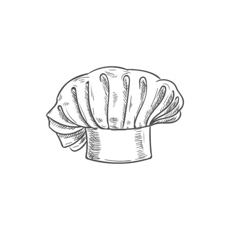 White chef cook hat isolated hand drawn sketch. Vector baker or cooker cap, kitchener headdress Banque d'images - 136681798