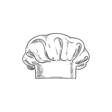 White chef cook hat isolated hand drawn sketch. Vector baker or cooker cap, kitchener headdress Banque d'images - 136681714