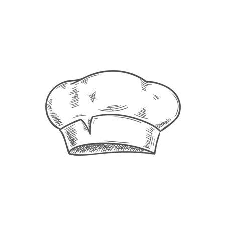 Chapeau de chef cuisinier blanc isolé croquis dessinés à la main. Chapeau de boulanger ou de cuisinière de vecteur, coiffe de cuisinier