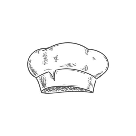 White chef cook hat isolated hand drawn sketch. Vector baker or cooker cap, kitchener headdress