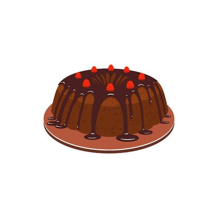 Cake with chocolate topping and strawberries isolated sweet bakery food. Vector cocoa dessert on plate