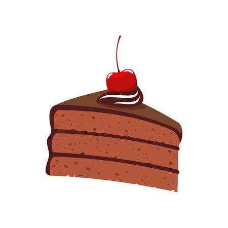 Chocolate cake piece isolated choc layered dessert. Vector bakery food, creamy pie Illustration