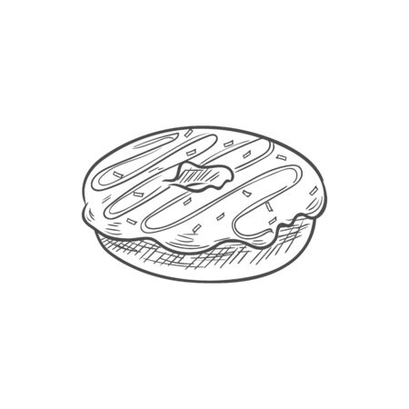 Doughnut confectionery food sketch, donut cookies with topping isolated. Vector glazed bakery snack,