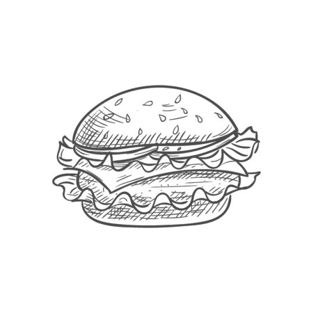 Hamburger or cheeseburger isolated burger sketch. Vector fastfood bun with cheese, chop and lettuce