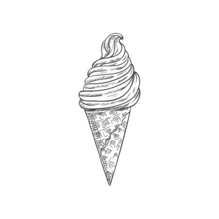 Ice cream in waffle cone isolated hand drawn sketch. Vector whipped sundae dessert, frozen gelato