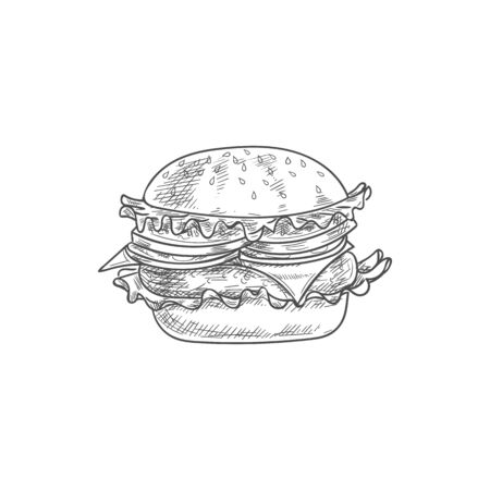 Hamburger or cheeseburger isolated burger sketch. Vector fastfood bun with cheese, chop and lettuce Stock Vector - 136682680