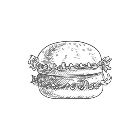 Hamburger or isolated burger sketch. Vector fastfood bun with cheese, chop and lettuce