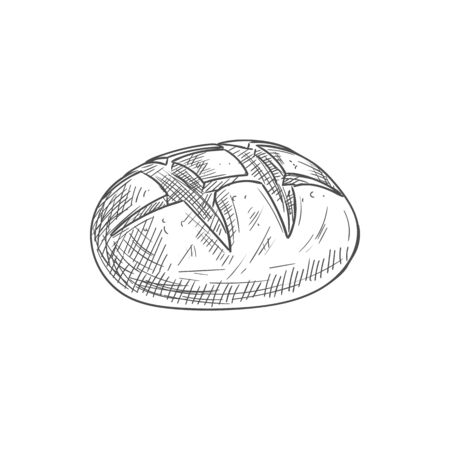Bakery of rye dough, bread loaf sketch isolated pastry food. Vector brown bread bun