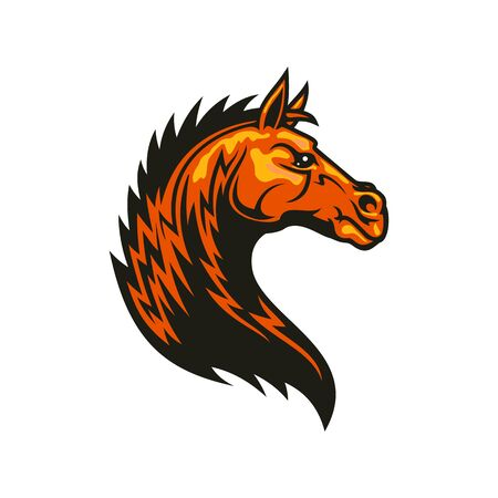 Stallion mustang isolated horse head. Vector equestrian sport mascot, racehorse animal Stock Illustratie