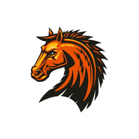 Stallion mustang isolated horse head. Vector equestrian sport mascot, racehorse animal 向量圖像