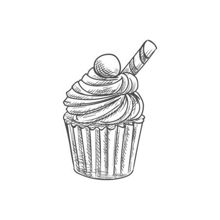 Muffin topped by waffle cone and chocolate candy isolated pastry food. Vector cupcake, bakery product