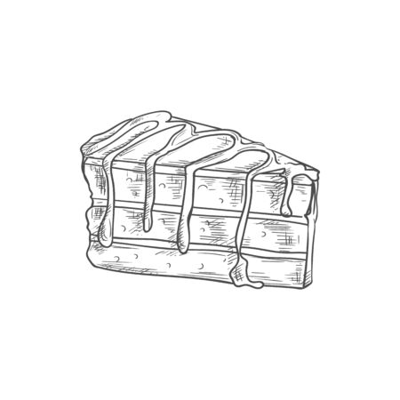 Piece of layered chocolate cake isolated bakery food sketch. Vector creamy sweet dessert of cocoa Illustration