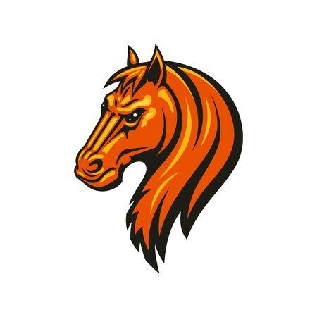 Hengst Mustang isolierter Pferdekopf. Vektor-Reitsport-Maskottchen, Rennpferd Tier