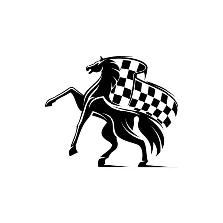 Horse race icon with checkered flag and stallion. Vector running mustang, equestrian sport mascot
