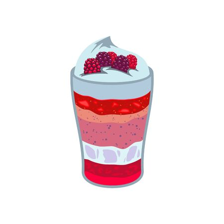 Raspberry dessert isolated layered fruit yogurt mousse. Vector glass cup with panna cotta or smoothie