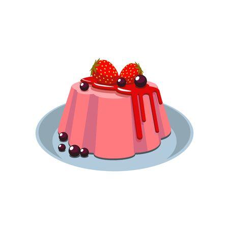 Truskawkowa pannacotta na białym tle włoski deser na talerzu. Wektor pudding panna cota, czekoladowe kulki