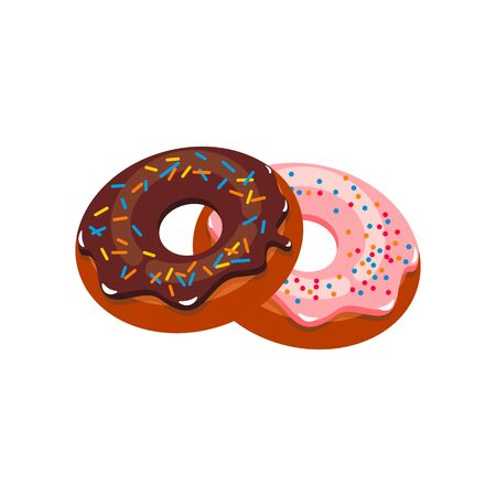 Chocolate and strawberry donuts isolated pastry food. Vector doughnut with sprinkles, cake in glaze