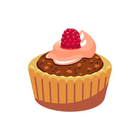 Sweet bakery food isolated muffin with chocolate cream and raspberry topping. Vector confectionery dessert