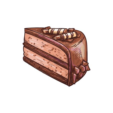 Chocolate cake piece isolated choc dessert sketch. Vector creamy sweet cocoa dessert, wafer decor Illustration