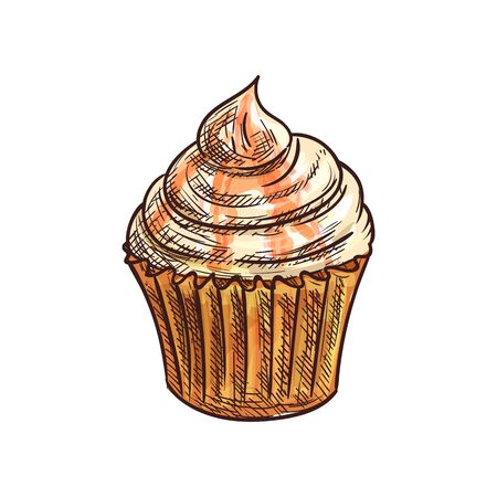 Cupcake with orange jelly topping isolated dessert sketch. Vector muffin and cream swirl  イラスト・ベクター素材